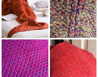 Various colors added HERE -Crocheted Mermaid Tail Blanket (Adult size)- Free Shipping Special