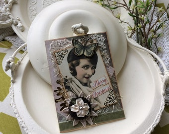 Victorian Lady Christmas Card - Handmade Christmas Card - Vintage Lady Christmas Card - Merry Christmas Greeting Card
