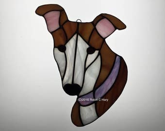 Greyhound Suncatcher in Stained Glass