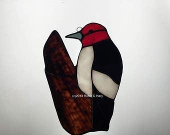 Red Headed Woodpecker in Stained Glass Suncatcher