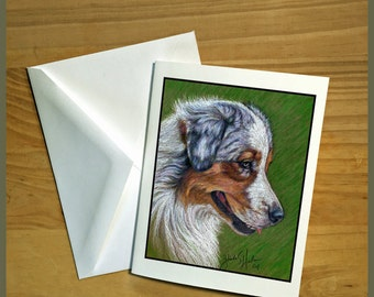Australian Shepherd Dog Fine Art Note Cards