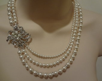 Wedding Bridal Pearl Necklace Vintage Style, 3 strand necklace, Triple strand necklace, Kristina III PN060