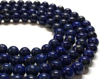 Dark blue lapis lazuli rounds, 6mm round beads, 15.5 inches long.