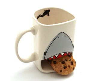 Father's day gift idea, Shark week, cookie mug,  shark mug,  Live every week like it's shark week, cookie lover, gift for Dad, DL