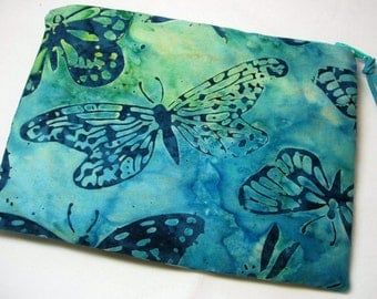 Padded Zipper Cosmetic Pouch in Blue Butterfly Batik  Print