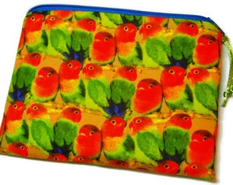Padded Zipper Cosmetic Pouch in Lovebird Parrot Print