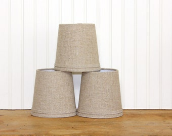 Linen Sconce Shade - Chandelier Shade - Drum Shade - Burlap Linen - Farmhouse - Rustic - Cottage Decor - Industrial - Lampshade