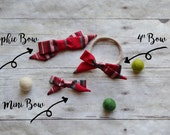 Christmas Red Plaid Hand-tied Simple Fabric Bow Nylon Elastic or Alligator Clip