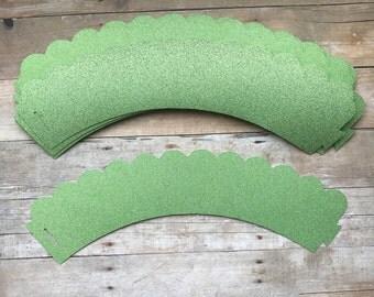1 Dz Green Glitter Cupcake Wrappers