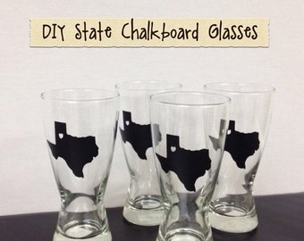 SALE- 150 State Chalkboard Labels - TEXAS - DIY Chalkboard Mason Jars, Place Settings, Wedding Favors--All States Available