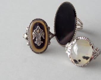 Agate Sterling Ring. 1920s German. Marcasite.