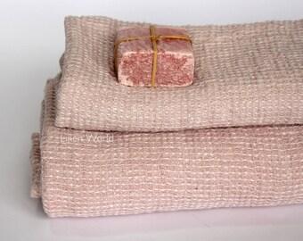 Pink Linen Bath Towel | Waffle Linen Bathroom Towel Sheet | Organic Baby Girl Towel Blanket | Linen Face Towel Guest Towel | Home Textiles