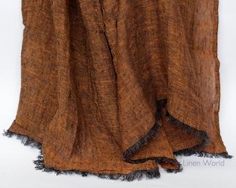Linen Flax Scarf   Mens Scarf   Orange Black Melange Linen Scarf for Women   Light Summer Scarf   Fashion Scarves   Organic Natural Modern 4