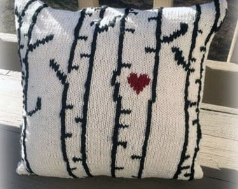 New! Knit Pillow Pattern - Birch Trees