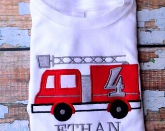 Firetruck birthday shirt , toddler firetruck birthday shirt, Toddler birthday, firetruck t-shirt, Boys Birthday Shirt