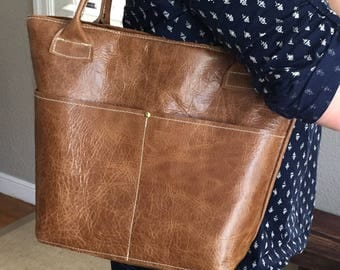 Caramel Brown Leather Tote Purse Lined with pockets outside and inside Caramel leather bag handmade leather tote