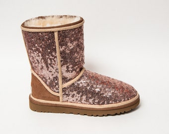 Sequin | Rose Gold Ugg Classic Short Fuzzy Custom Boots