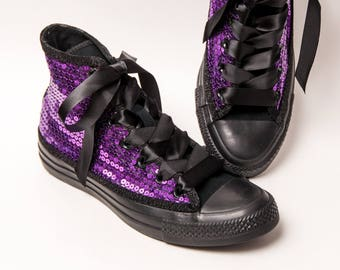 Sequin - Converse Brand Purple and Black Canvas Hi Top Sneakers Tennis Shoes with Satin Ribbon Laces
