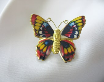 Butterfly Brooch Colorful Enamel Brass 1960s Pin Blue Red Yellow