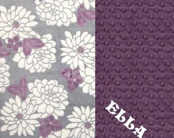 Minky Baby Blanket Girl, Flower Baby Blanket / Personalized Baby Blanket - Nursery Decor // Purple Baby Blanket // Name Baby Blanket