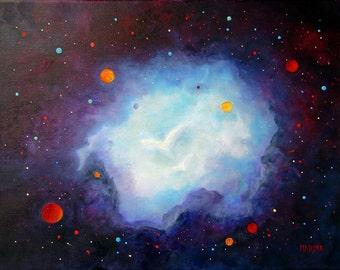 Painting Angels, Space Art, Original Art, Angel Art, Wall art, Space Art, wall decor,