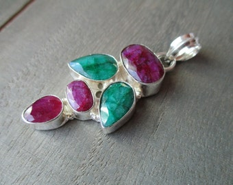 35% OFF Emerald, Ruby Silver Plated Pendant