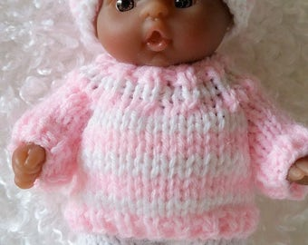 Berenguer Baby Doll Knit Pink Sweater Pants Set fits Itty Bitty Chubby 5 inch Berenguer Baby Dolls