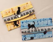 Kawaii Cat & Piano Business Card Case/ Gift Card Holder/ Mini Coin Purse - Sky Blue or Yellow