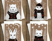 Set of 4 Winter Animals - Blank Inside Holiday Christmas Solstice Greeting Cards