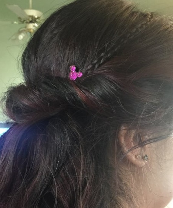 MOUSE EARS Hair Swirls for Wedding in Dazzling Bright Pink Acrylic Hair Twirls Coils Twists Spin Pins Spirals