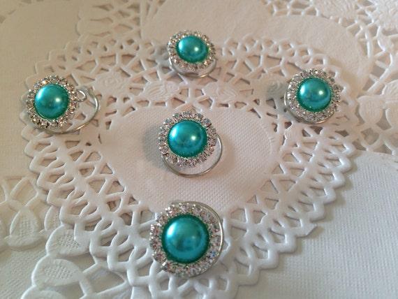 Hair Jewels Rhinestones and Aqua Pearls Hair Swirls Spins Spirals Prom Coils Wedding Hair