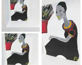 black woman art,african american art, black woman art,afrikkan art, black woman paintings, wall decor, wall art, red black blue yellow
