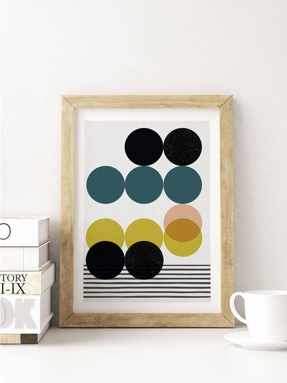 SYMPHONY CIRCLES // Poster, Abstract art, 12x18, minimalist art print, geometric print, mid century, Scandinavian style, circles, pink