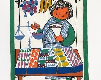 Vintage Tea Towel Kitchen Decor Zucchi Italy Fruit Cart Vegetable Seller Vendor Market