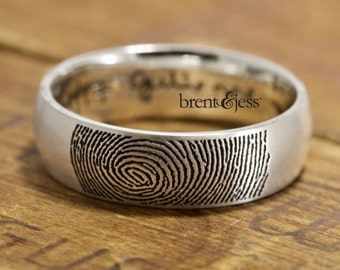 Custom Handcrafted Fingerprint Ring,  Wedding Band - Low Dome, Comfort Fit, in sterling silver