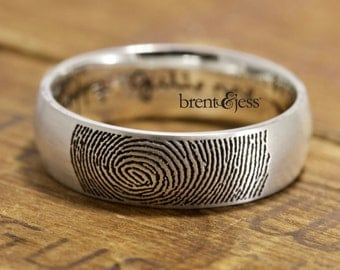 Custom Handcrafted Fingerprint Wedding Band - Low Dome, Comfort Fit, Your Actual Fingertip Print on the Outside