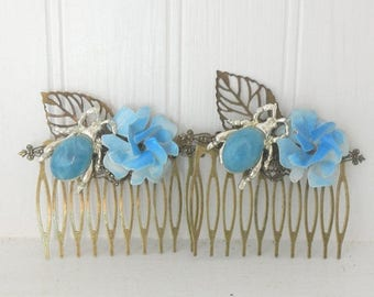 5day Mothers Day 20% SALE Vintage Blue Haircombs Bug Leaf Flower , Serenity Pantone 2016 Assemblage