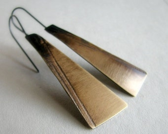ON SALE 20% OFF Brass earrings, patterned and hand cut metal, modern rustic earrings - Shadowland