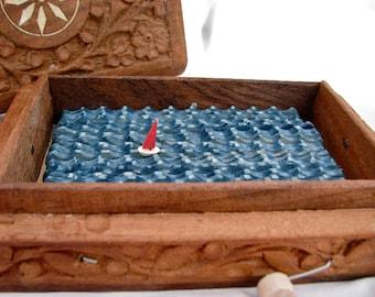 nautical decor, carved wood box, kinetic sailboat sculpture, ocean beach art,
