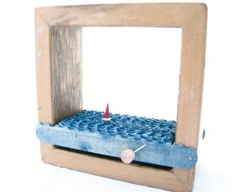 kinetic nautical art, sailboat automaton sculpture, wood shadowbox frame home decor