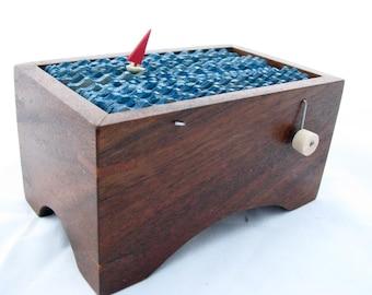 nautical kinetic sailboat automaton, wood boat sculpture, nautical decor, small wooden box