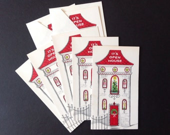 Vintage Gibson Holiday Open House Invitations-Mid Century Retro-New In Pkg-Set Of 7