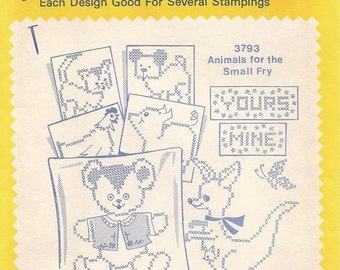 vintage Aunt Marthas Hot Iron On Transfers, Animals for the Small Fry, No 3793, sewing supplies, animal designs, embroidery,textile painting