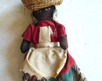 Vintage Jamaica Doll, Cloth Doll, Souvenir Doll, Unique Doll, Vintage Collectible, Primitive Home Decor, Dark Skin Doll, Primitive Doll,Gift