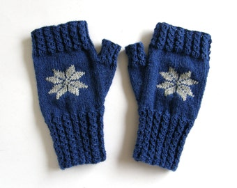 Fingerless Mittens, Blue, with star, size L