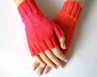Fingerless Mittens, Pink/Orange, size S/M