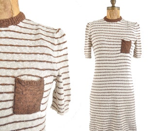 60s pocket sweater dress / nubby knit striped t-shirt dress / 1960s brown and white dress .. small
