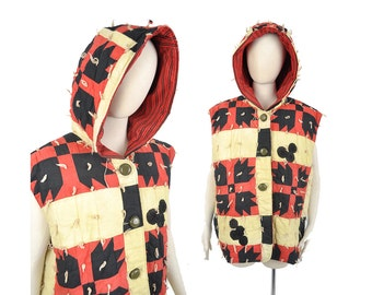 vintage oversized quilt vest / hooded vest / red yellow and black vest