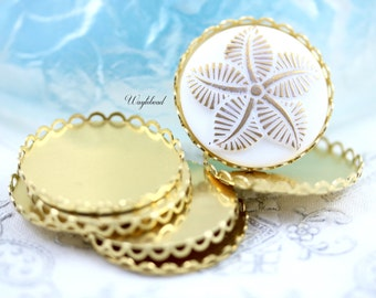 28mm Raw Brass Lace Edge Round Settings - 6