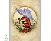 Hand Accented fox fairy 5x7 matted 8x10 by Amy Brown